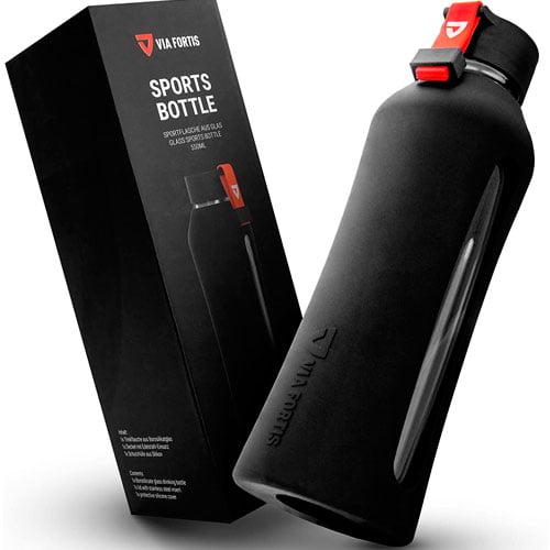 botella deportiva cristal silicona